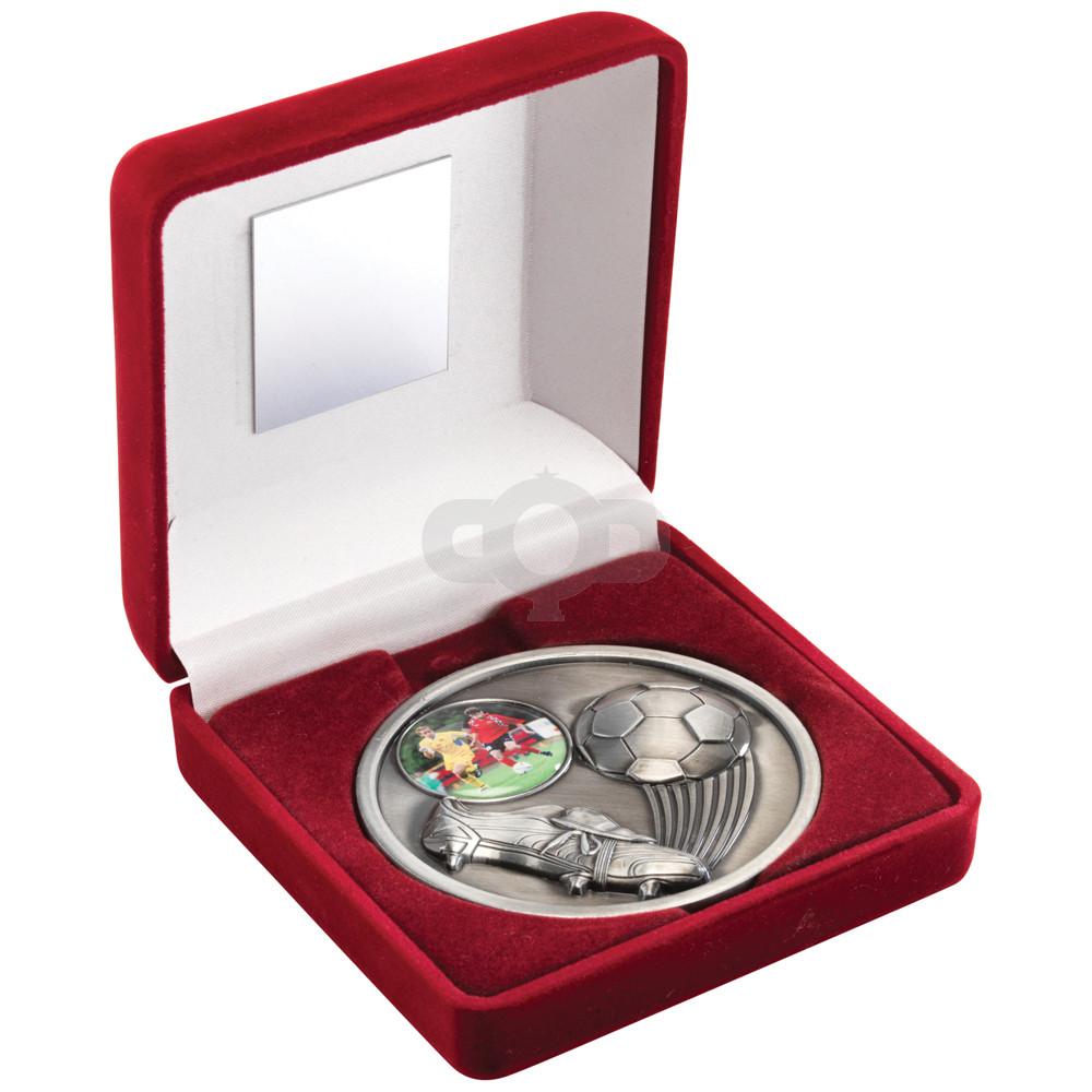 Red Velvet Box and 70mm Medal Football Trophy