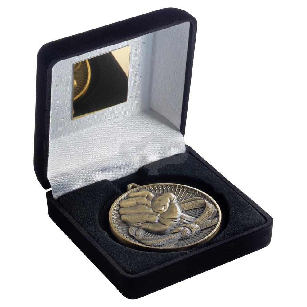 Black Velvet Box And 60Mm Medal Martial Arts Trophy - Antique Gold