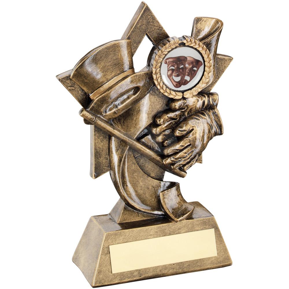 Top Hat & Gloves & Cane On Star Backdrop Trophy