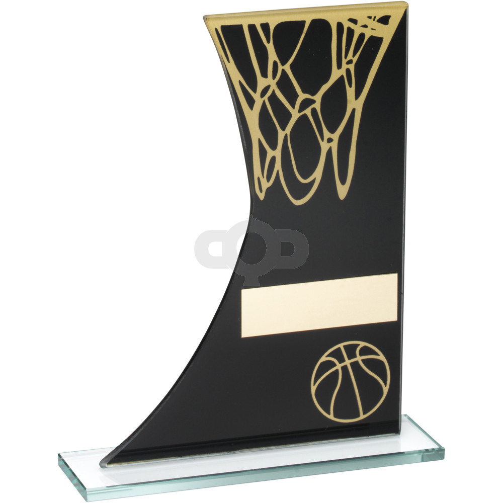Printed Glass Plaque With Basketball & Net Trophy