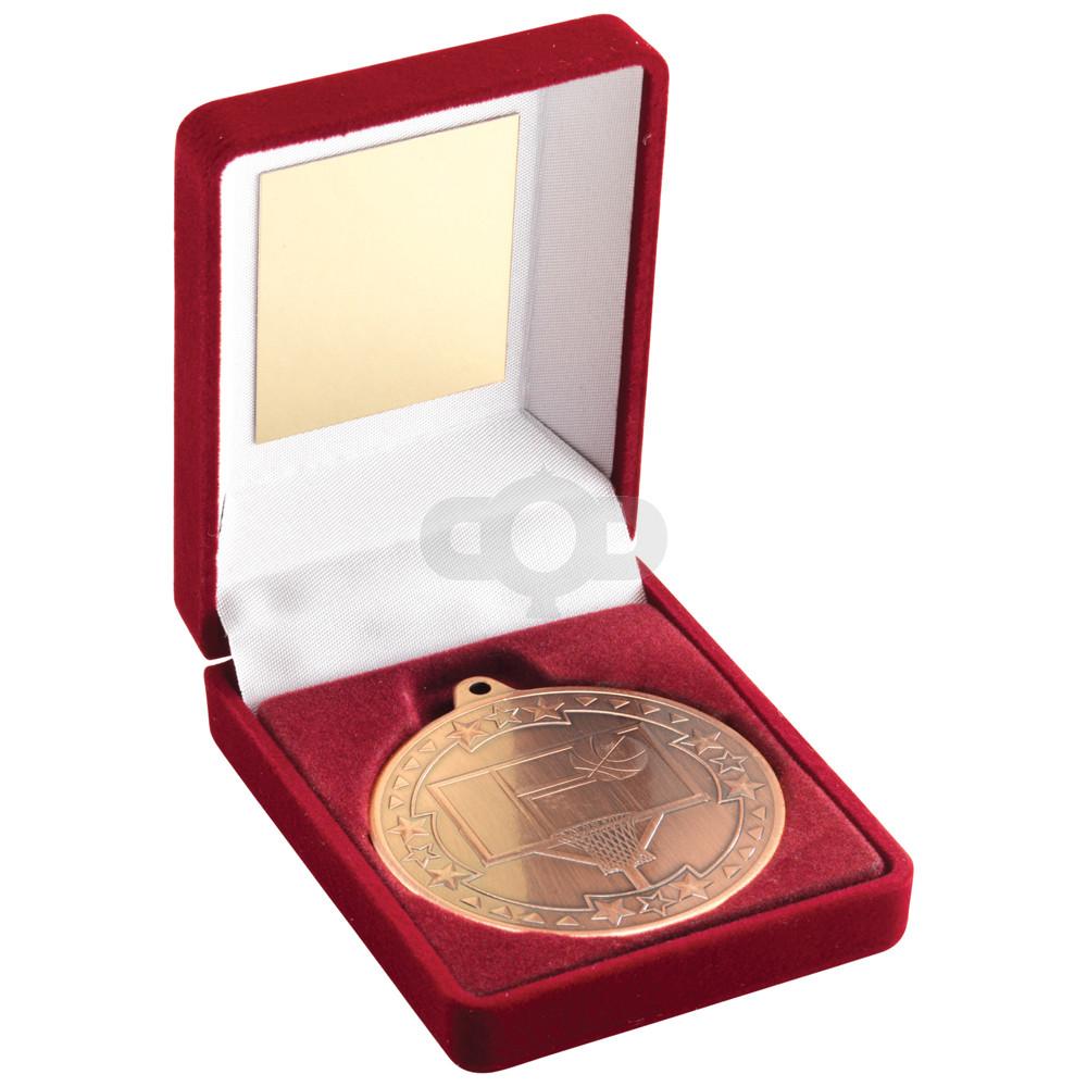 Red Velvet Box and 50mm Medal Basketball Trophy