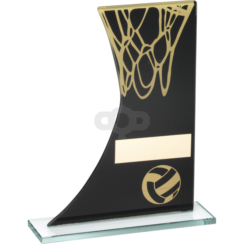 Printed Glass Plaque With Netball & Net Trophy