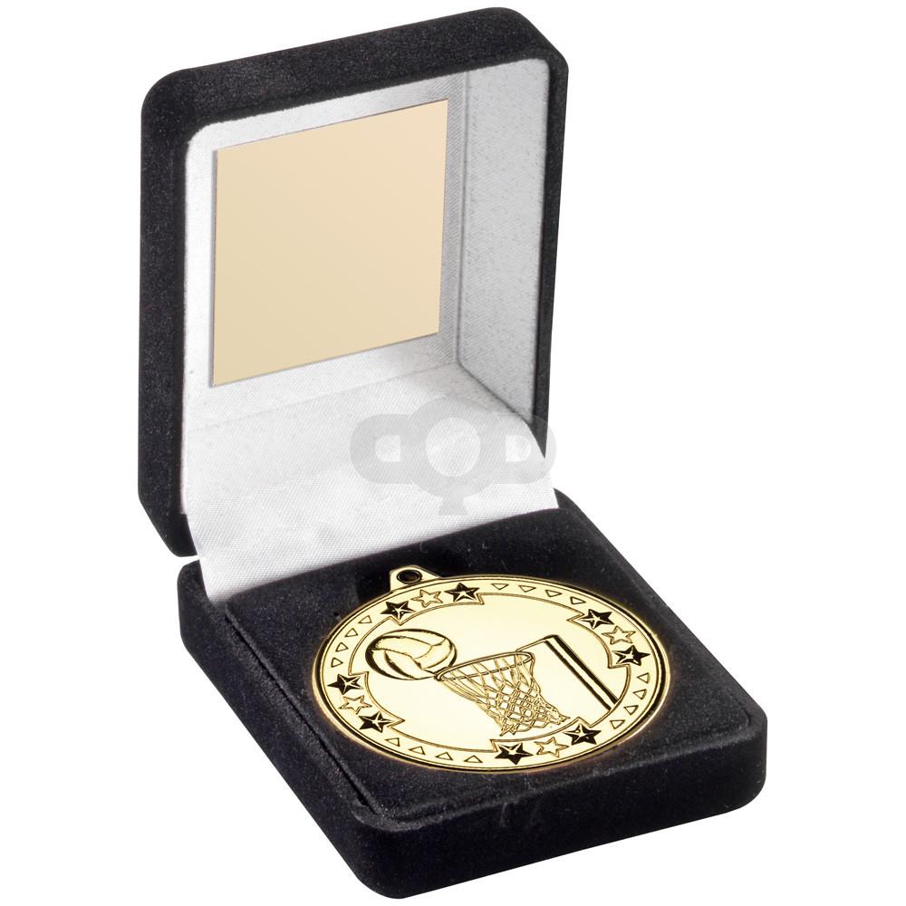 Black Velvet Medal Box And 50Mm Medal Netball Trophy - Bronze