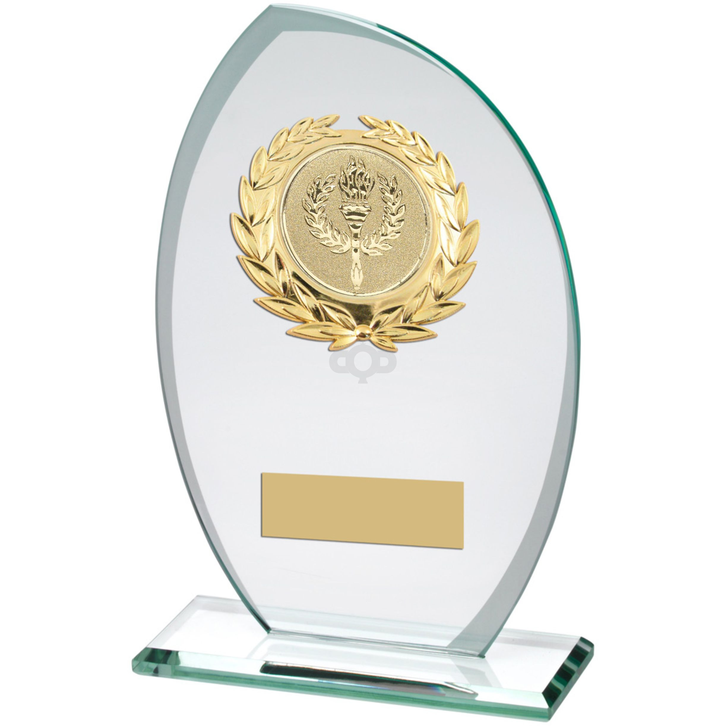Jade Frosted Glass Plaque With Gold Trim Trophy