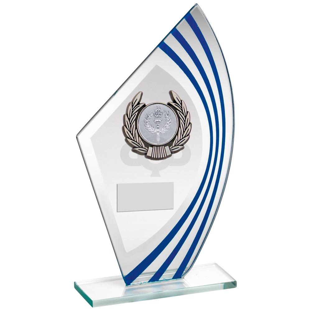 Sail Glass With Silver & Black Wreath Trim Trophy