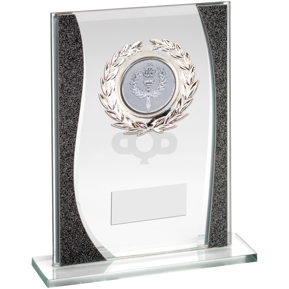 Rectangle Glass With Silver Wreath Trim Trohy