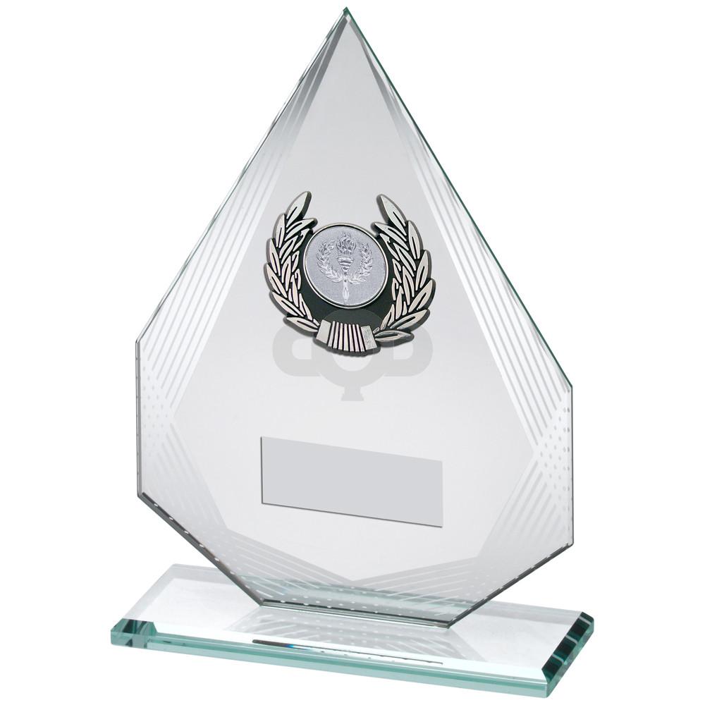 Diamond Glass With Silver & Black Trim Trophy