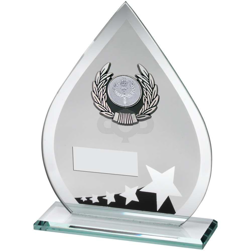 Glass Teardrop Plaque With Silver & Black Trim Trophy