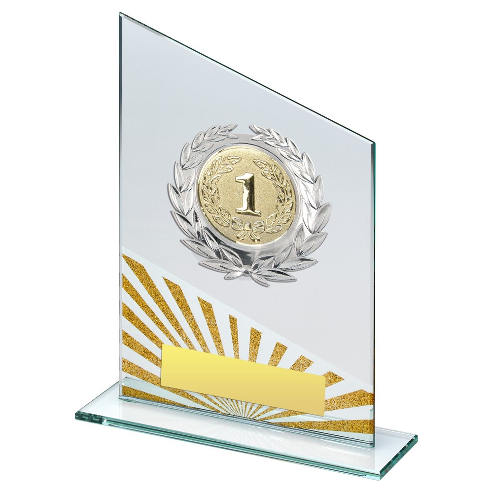 Jade & Silv & Gold Glass Plaque With Silver Trim Trophy