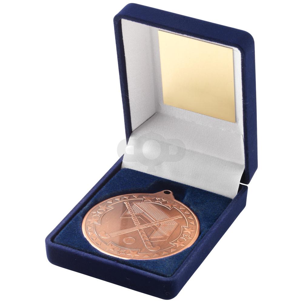 Blue Velvet Box and 50mm Medal Hockey Trophy