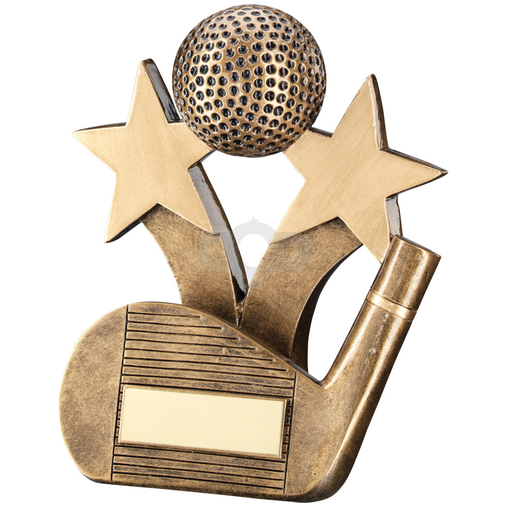 Golf Wedge & Ball With Stars Trophy