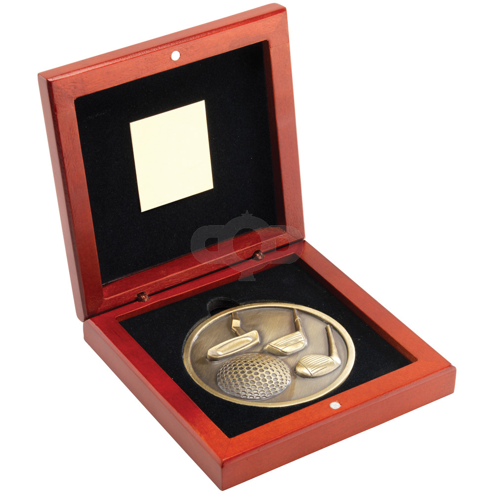 Rosewood Box and 70mm Medallion Golf Trophy