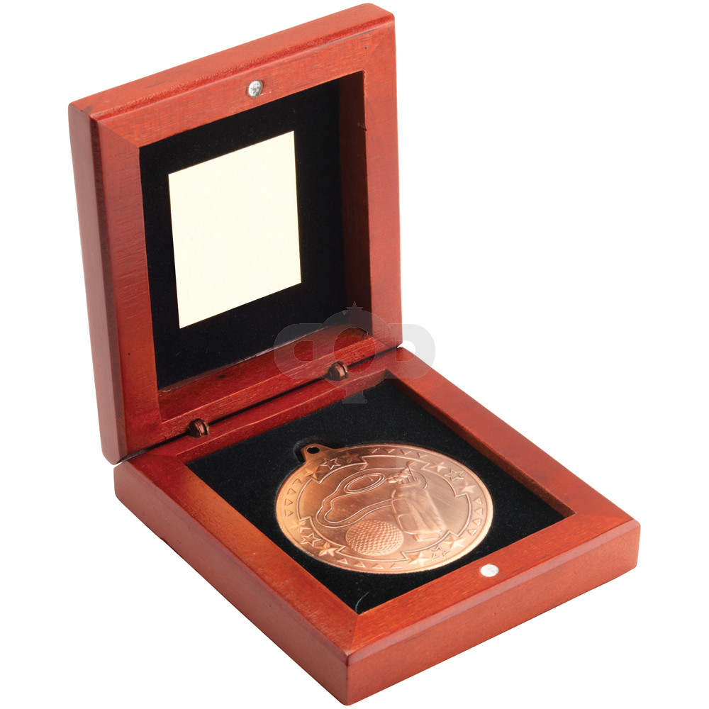 Rosewood Box and 50mm Medal Golf Trophy