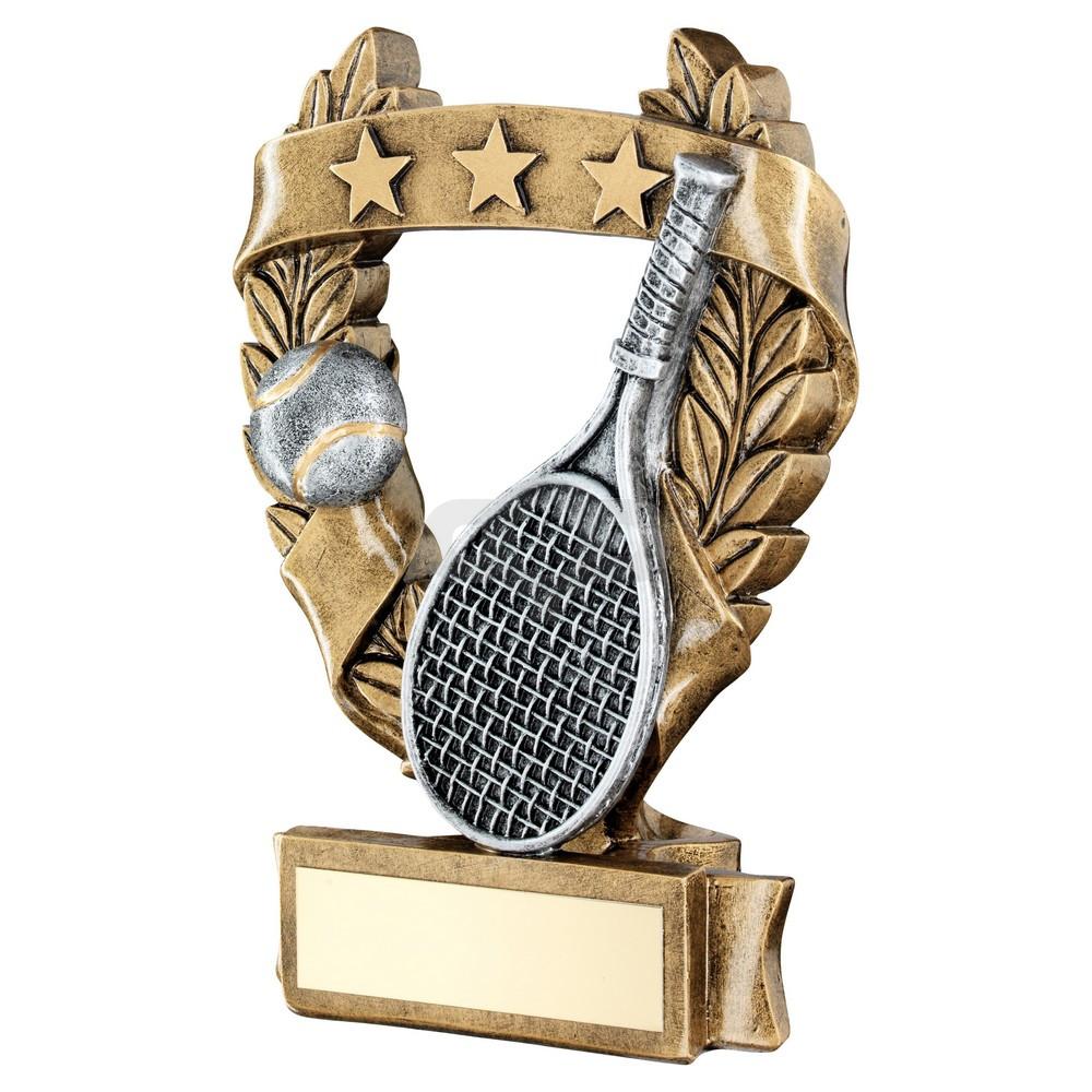 Bronze & Pewter Tennis 3 Star Wreath Award Trophy