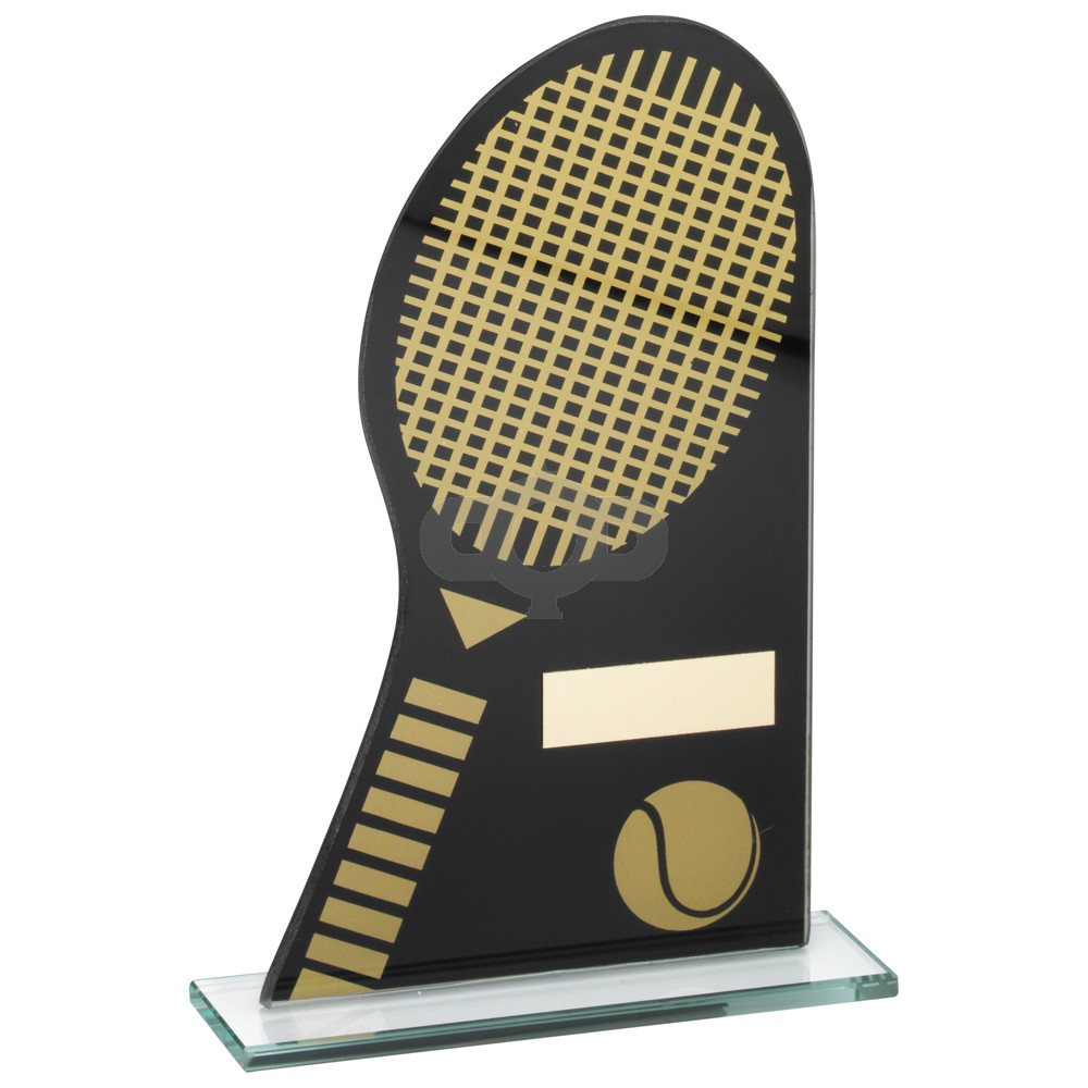 Printed Glass Plaque With Tennis Racket & Ball Trophy