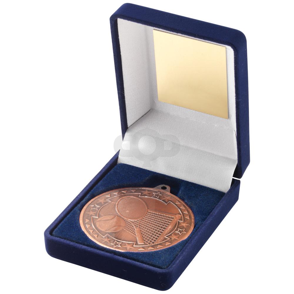 Blue Velvet Box and 50mm Medal Tennis Trophy