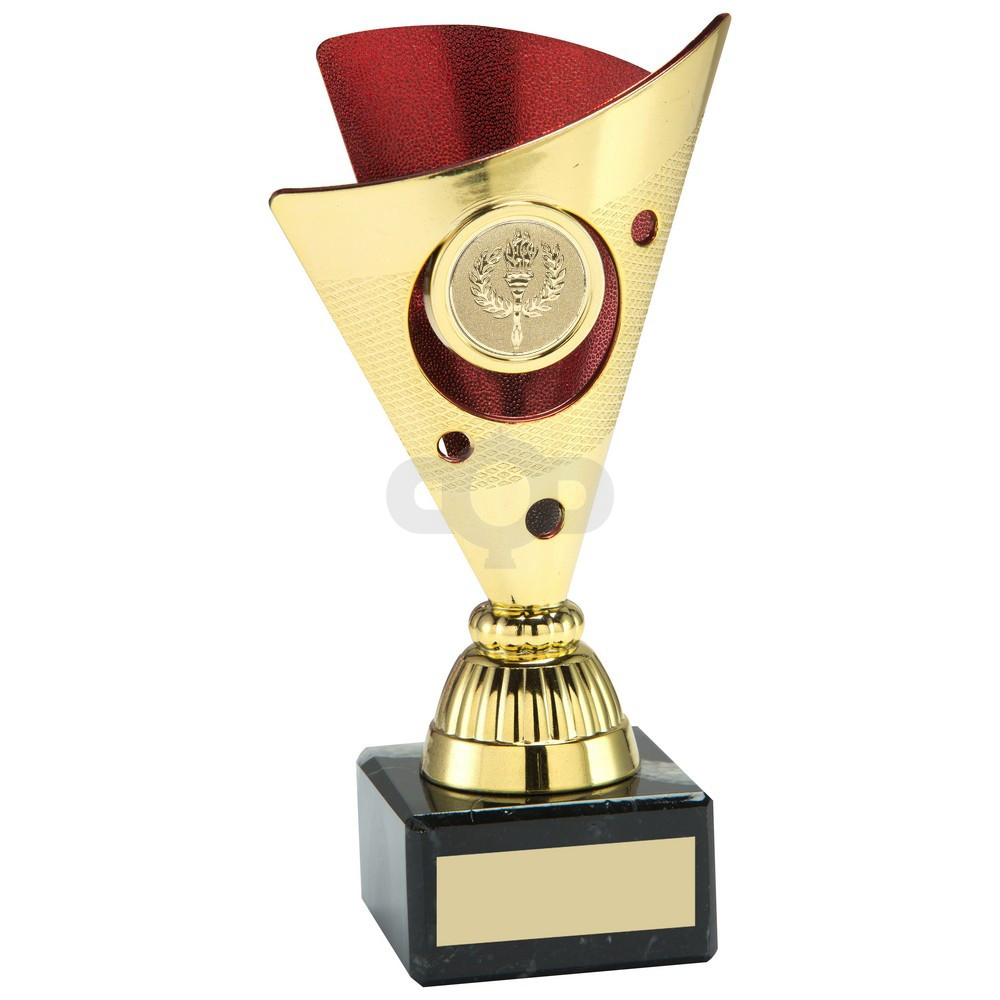 Gold & Red Tri-Dot Trophy