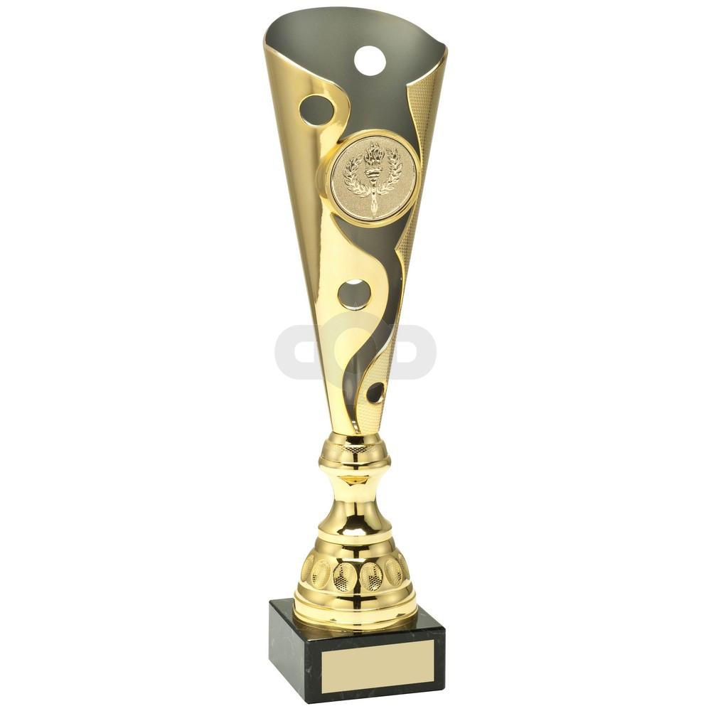 Gold & Matt Silver Metal Swirl And Dot Trophy