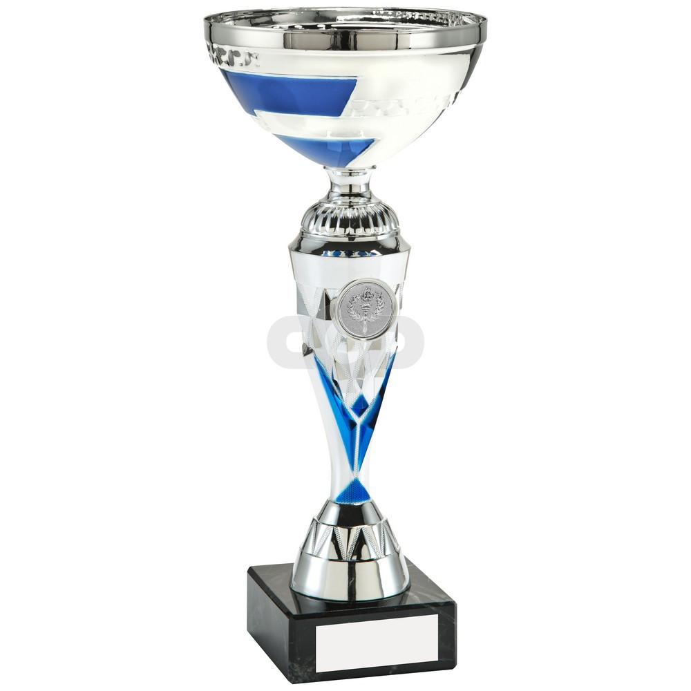 Silver & Blue Diamond V-Stem Trophy