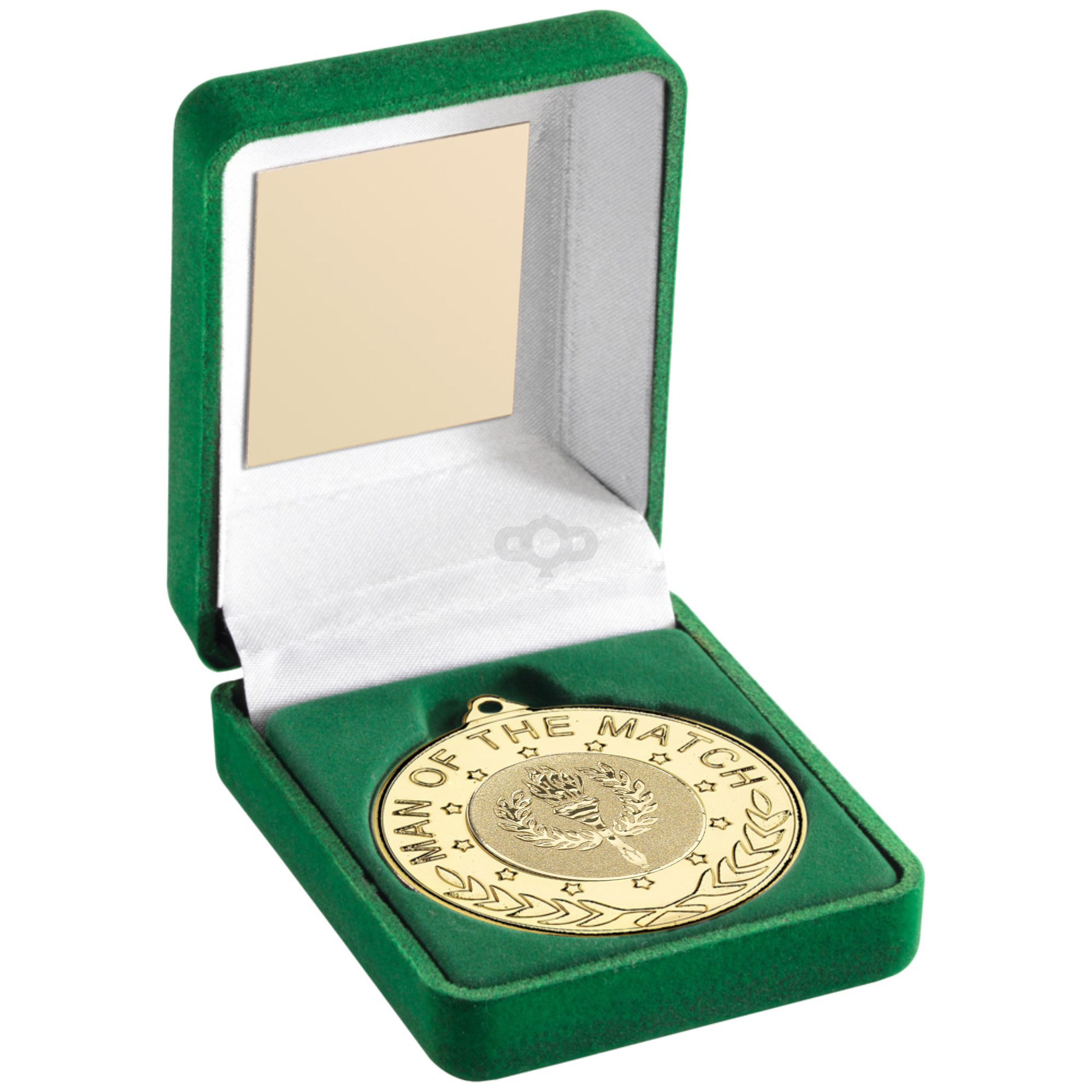 Green Velvet Box And 50mm Medal With Gaelic Football Insert 'M.O.T.M' Trop