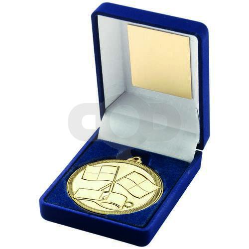 Blue Velvet Box And 50mm Medal Referee Trophy - Gold