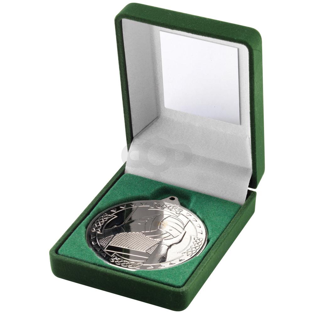 Green Velvet Box and 50mm Medal Gaelic Football Trophy