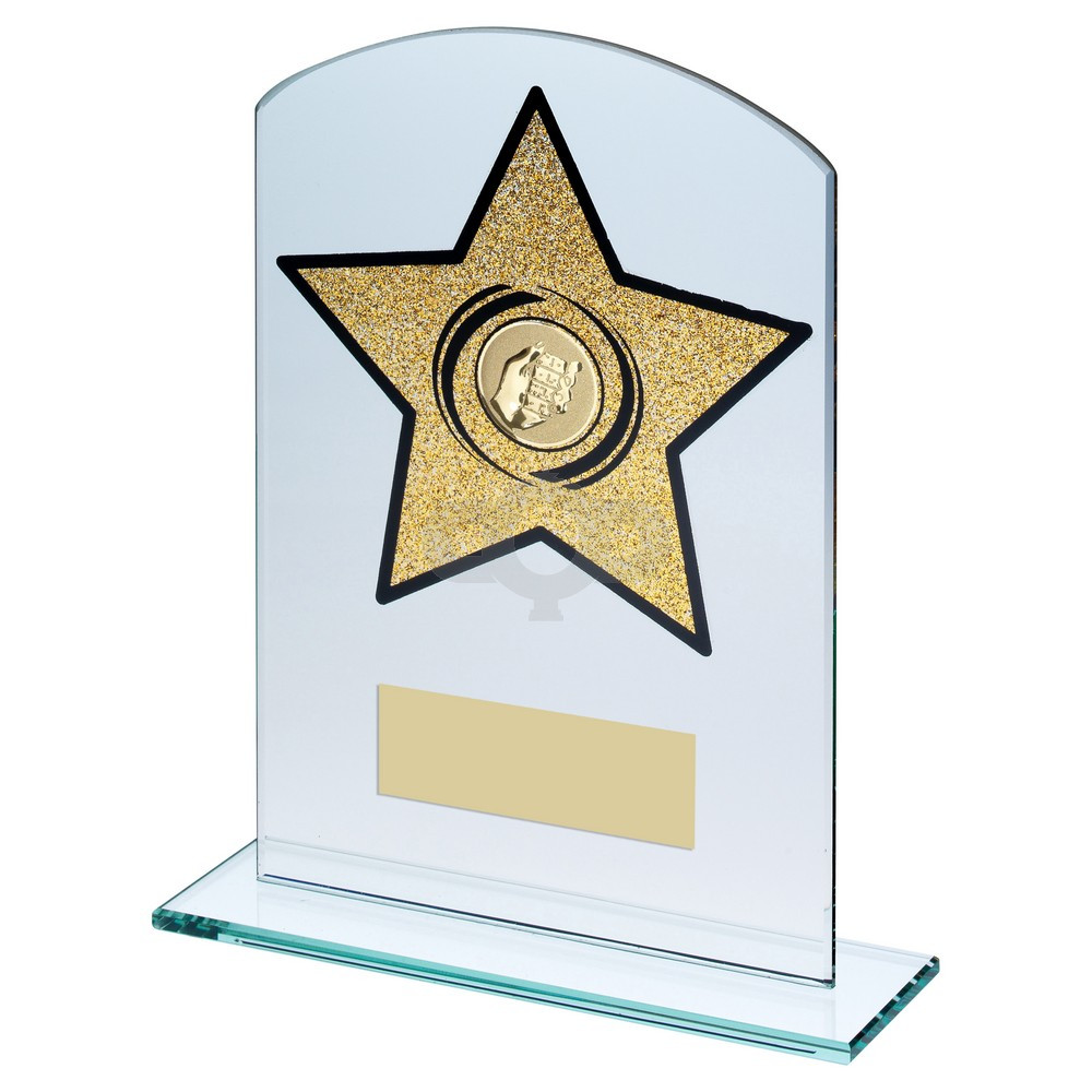 Jade & Gold Glass Arched Rectangle With Dominoes Insert Trophy
