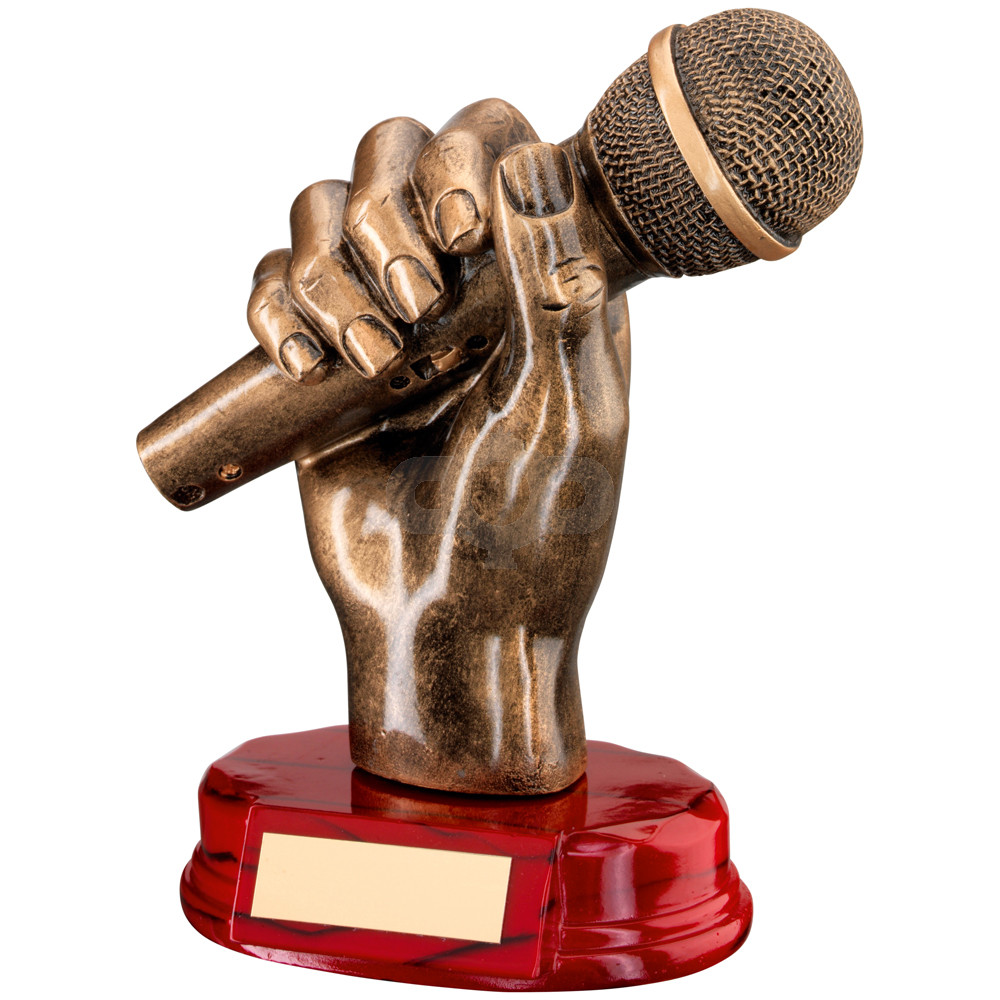 Resin Microphone in Hand Trophy