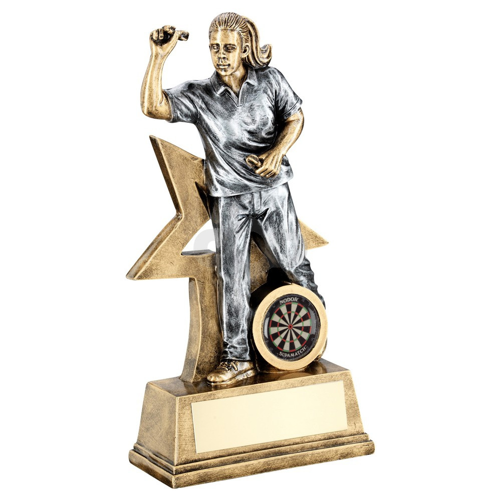 Bronze & Pewter Female Darts Figure With Star Backing Trophy