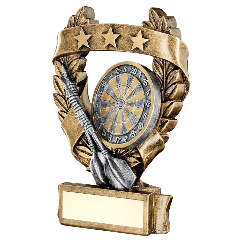 Bronze & Pewter Darts 3 Star Wreath Award Trophy