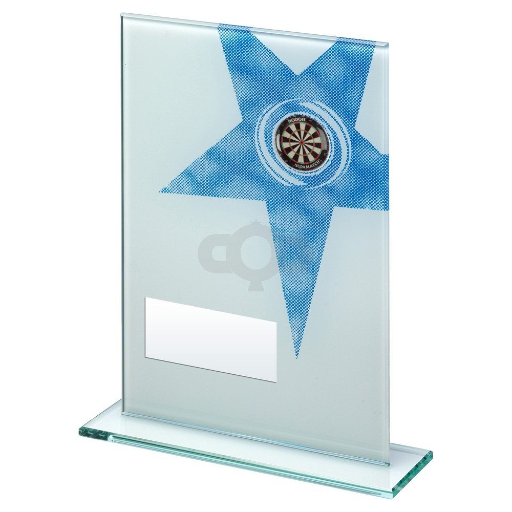 White & Blue Printed Glass Rectangle With Darts Insert Trophy