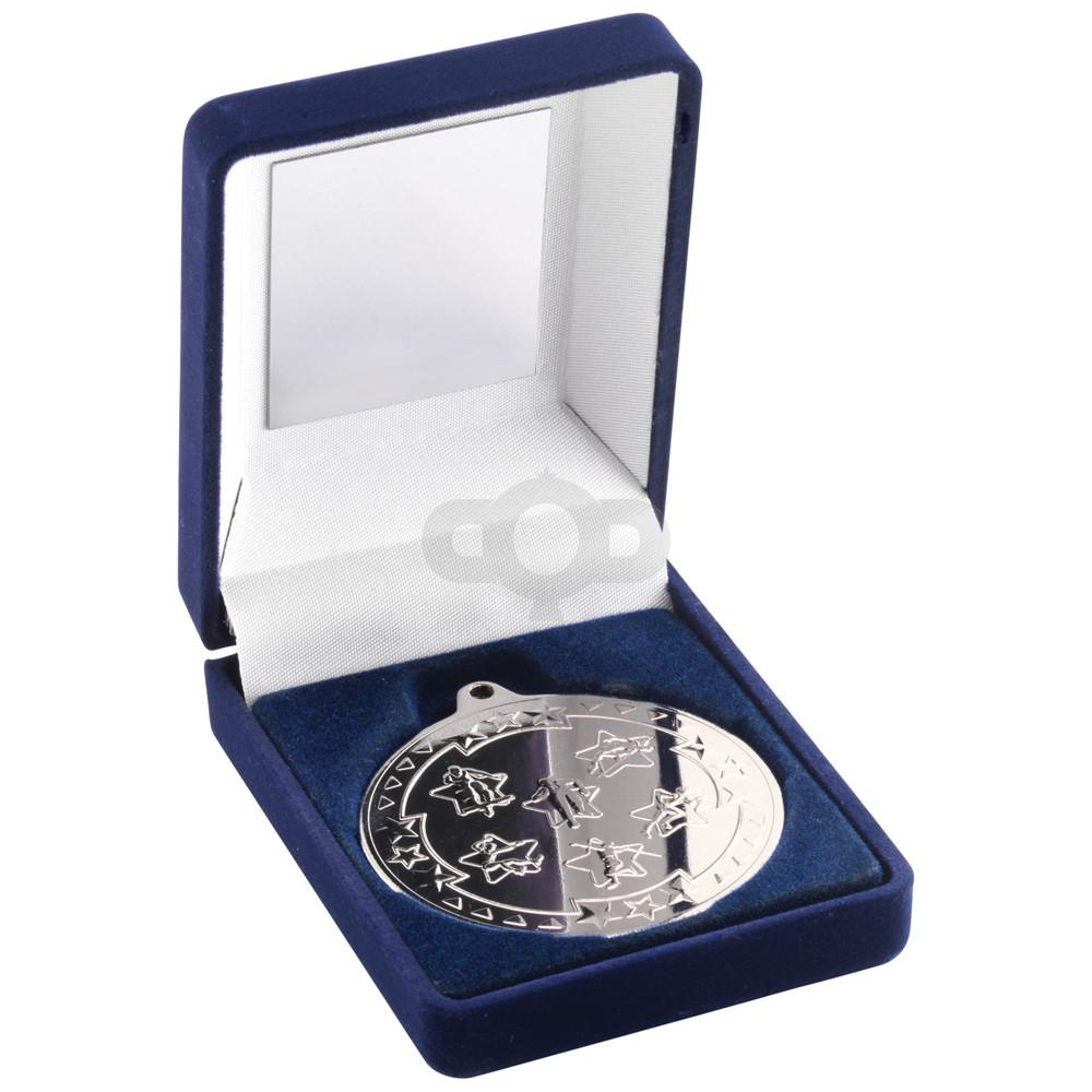 Blue Velvet Box+ and 50mm Medal Multi Athletics Trophy
