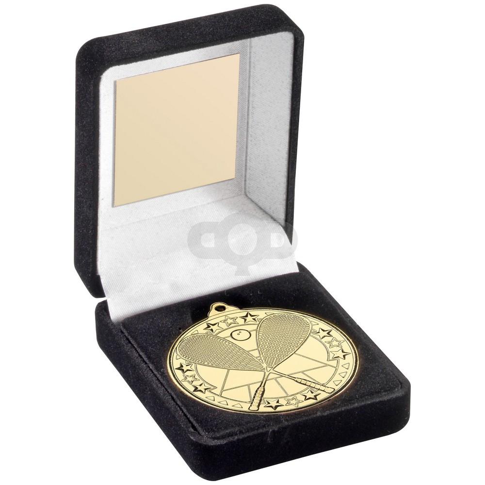 Black Velvet Box And 50Mm Medal Squash Trophy - Gold