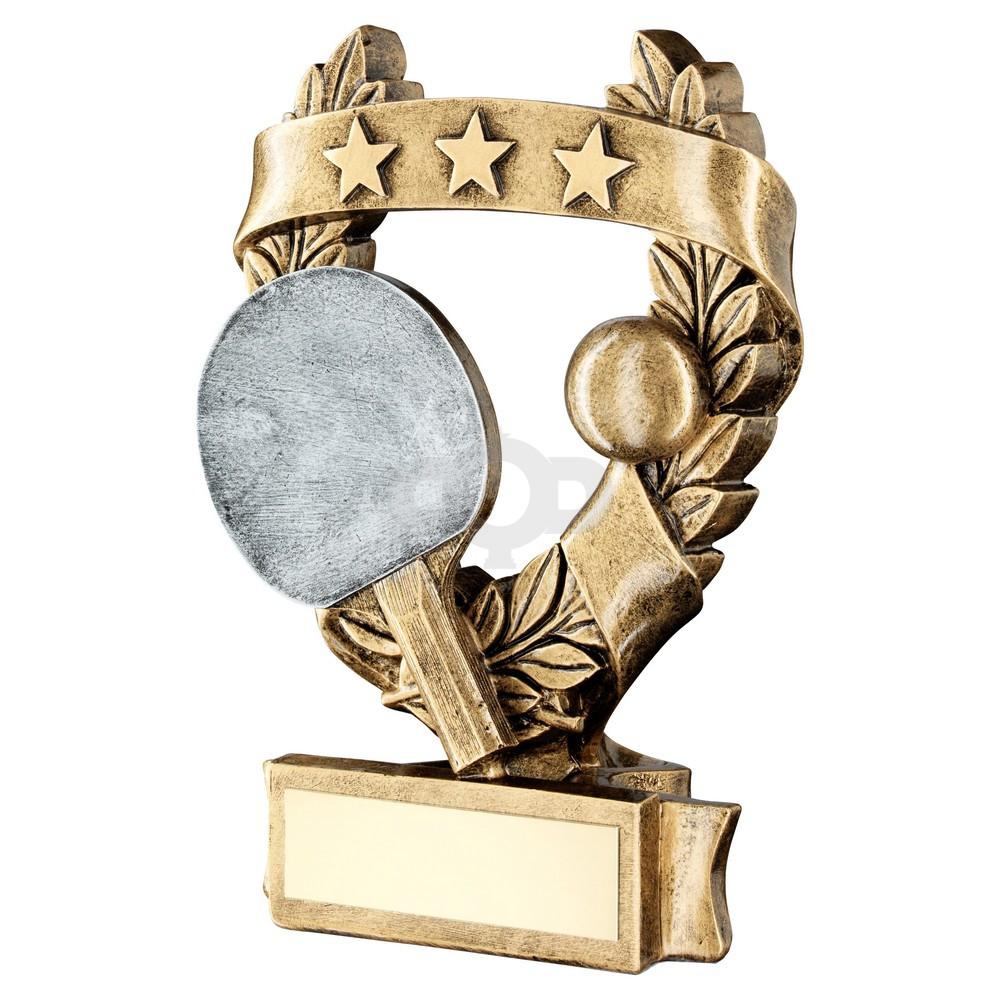 Bronze & Pewter Table Tennis 3 Star Wreath Award Trophy