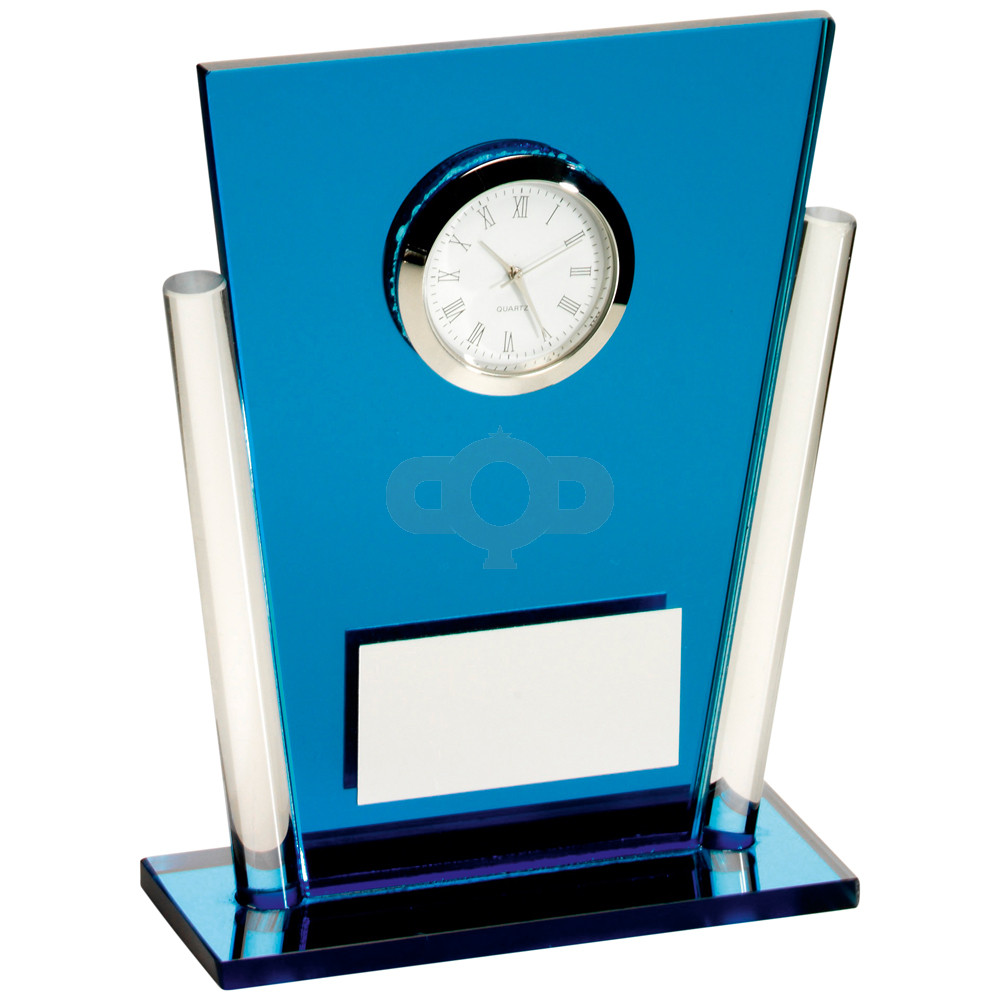 Clear Glass Tapered Rectangle Clock Trophy