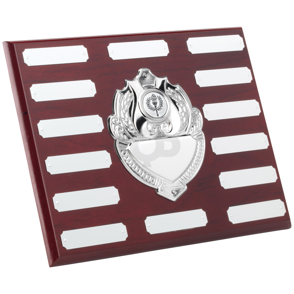 Rosewood Plaque With Chrome Fronts & 14 Plates