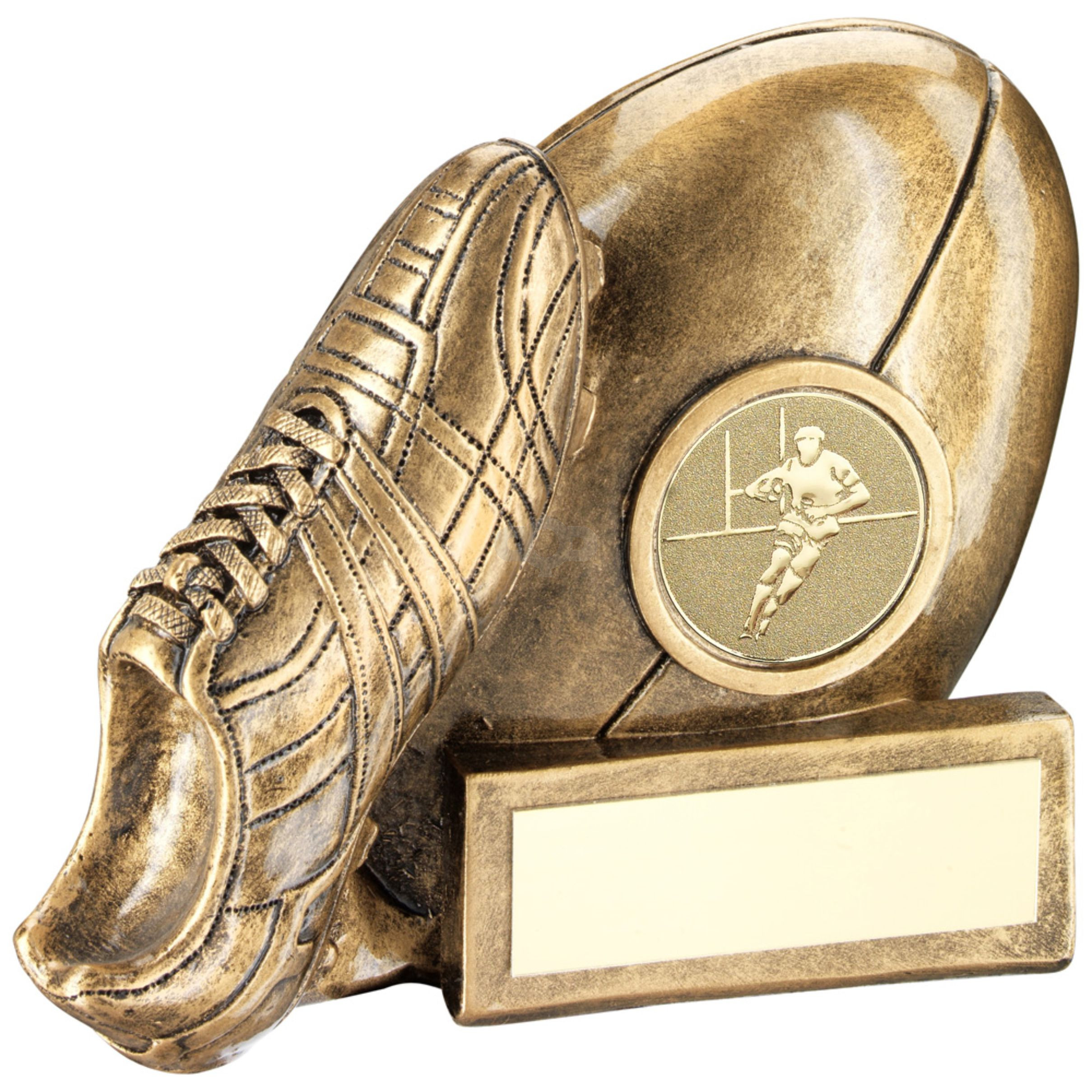 Rugby Ball And Boot Chunky Flatback Trophy