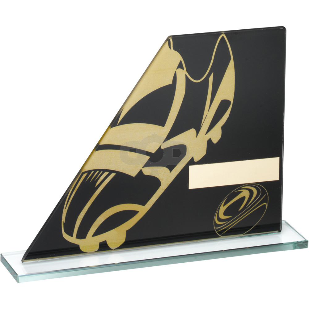 Printed Glass Plaque With Rugby Boot & Ball Trophy