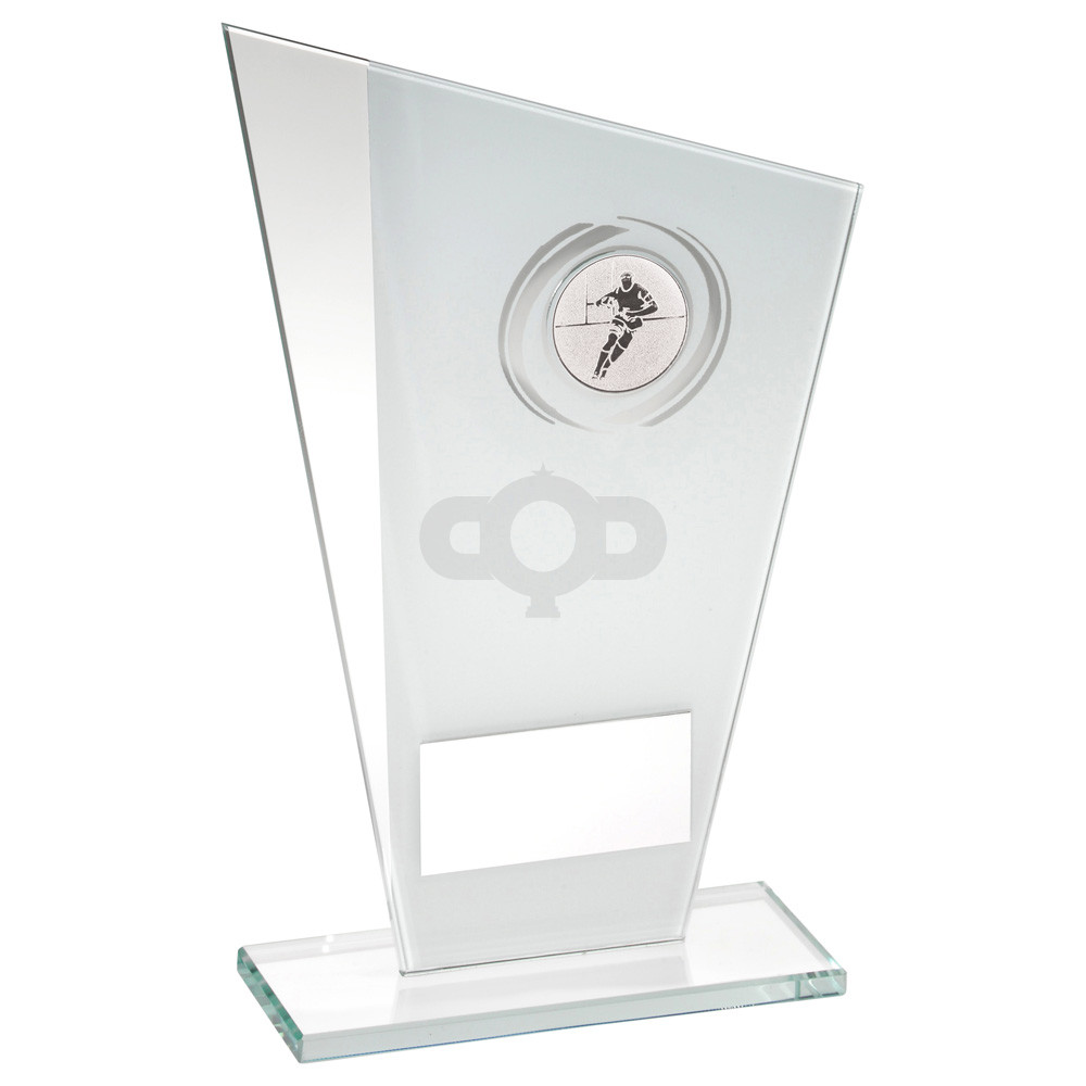 Printed Glass Plaque With Rugby Insert Trophy