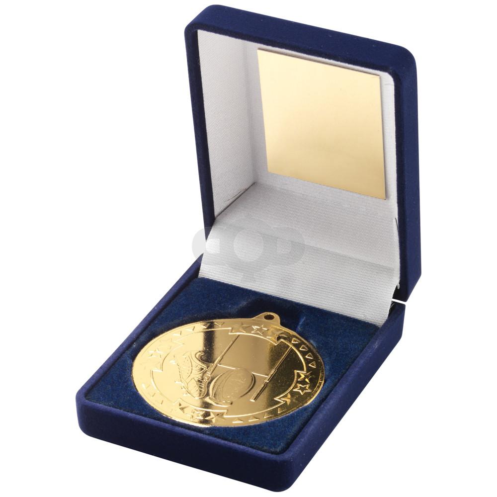 Blue Velvet Box and 50mm Medal Rugby Trophy