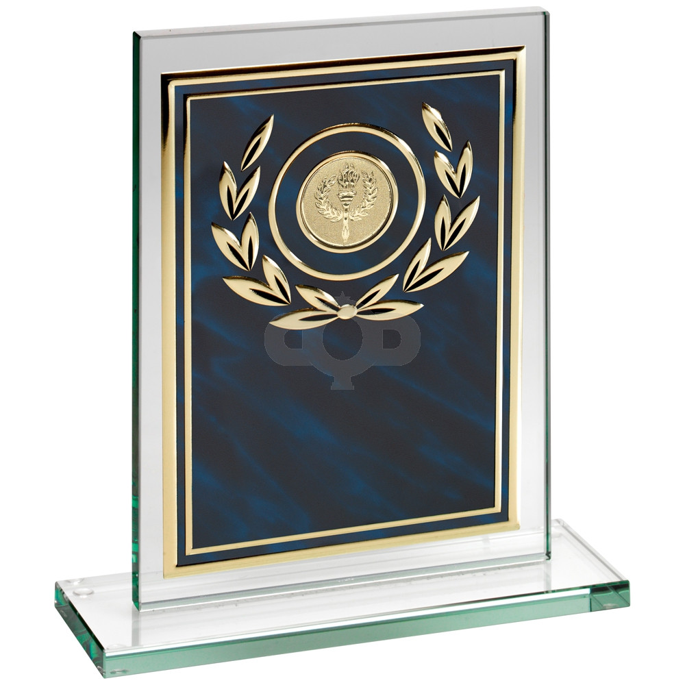 Jade Glass Plaque With Blue & Aluminium Front Trophy