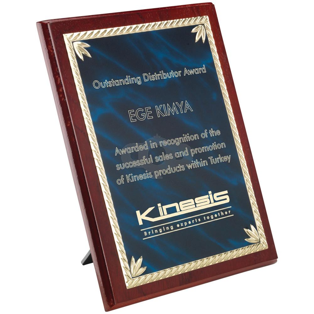 Rosewood Plaque With Blue & Aluminium Front