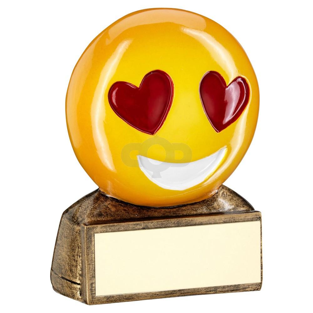 Bronze & Yellow & Red 'Heart Eyes Emoji' Figure Trophy