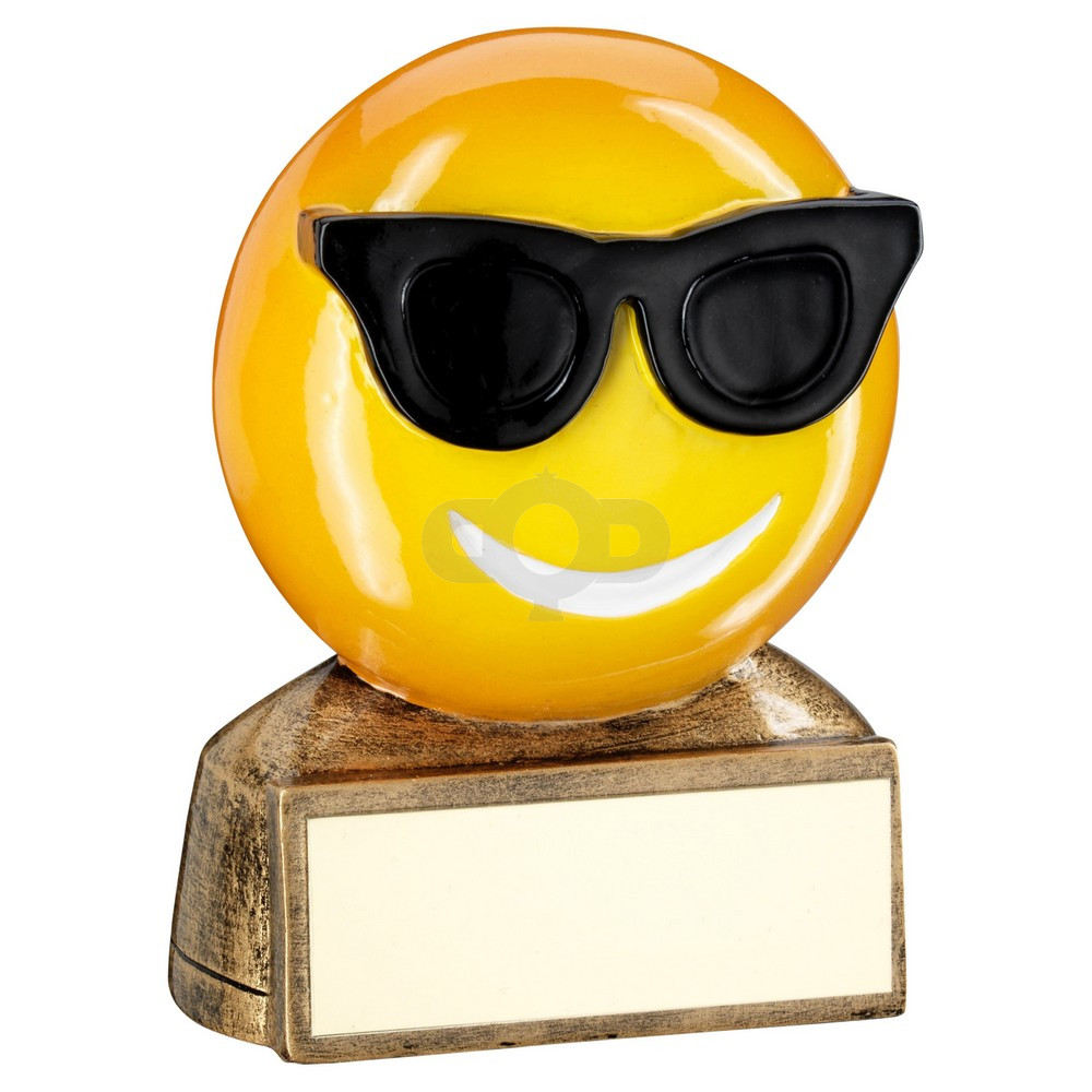 Bronze, Yellow & Black 'Sunglasses Emoji' Figure Trophy