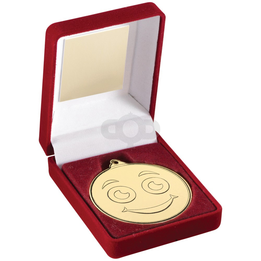 Red Velvet Box And Gold 50Mm Medal Smiley Face Trophy