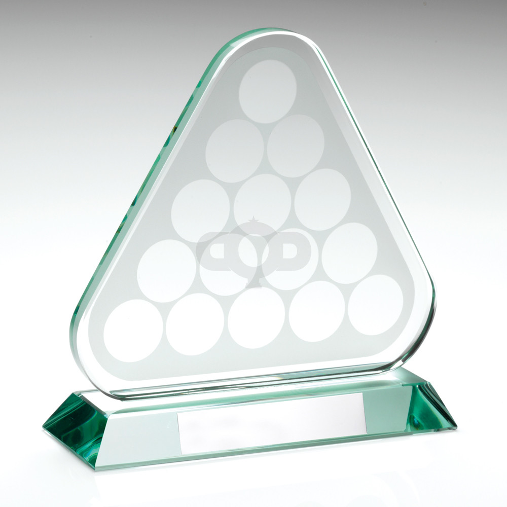 Jade Glass Pool/Snooker Balls in Triangle Trophy