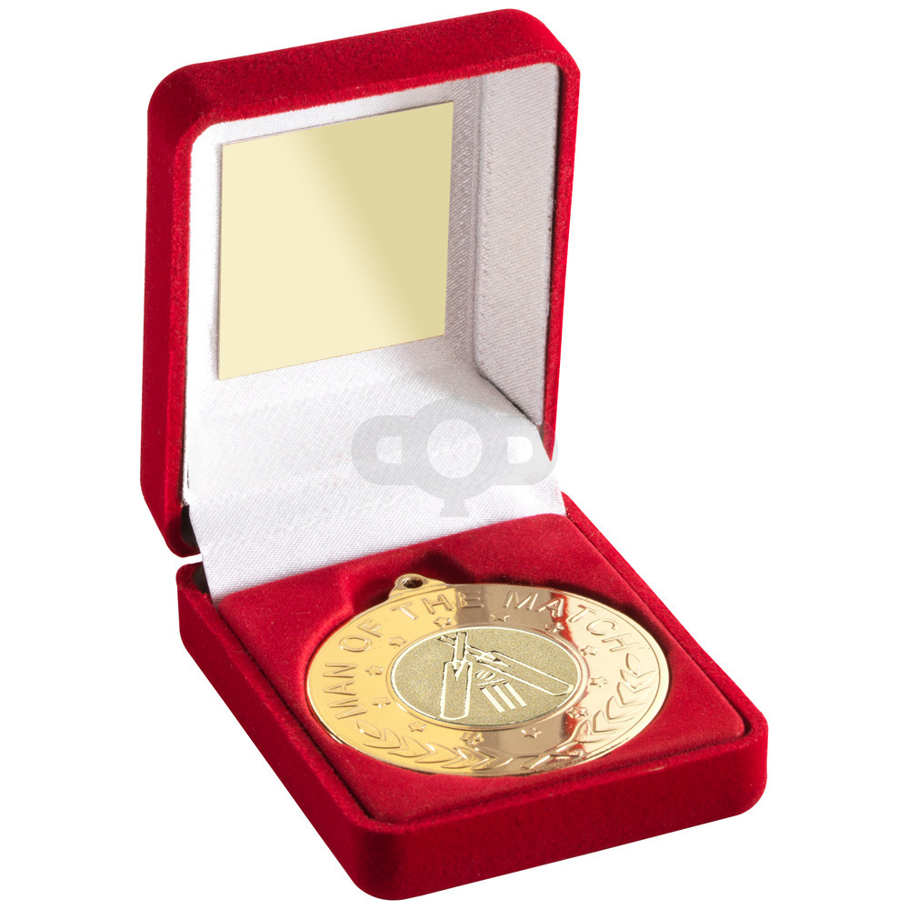 Red Velvet Box And 50Mm Medal With Cricket Insert 'M.O.T.M' Trophy - Gold