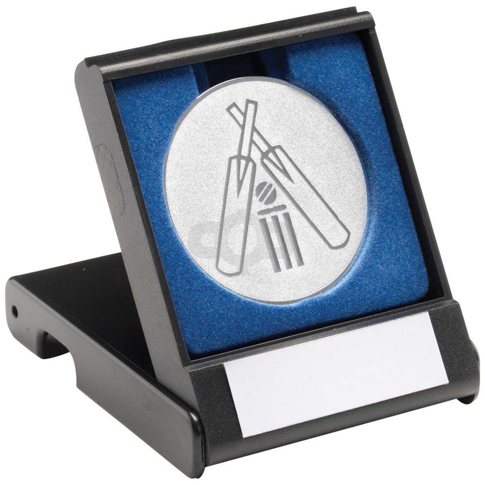 Black Plastic Box With Cricket Insert Trophy
