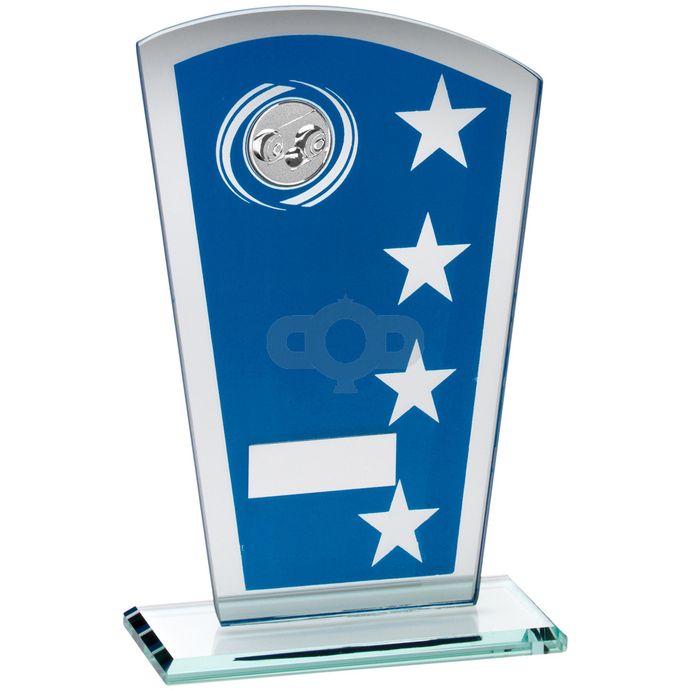 Printed Glass Shield With Lawn Bowls Insert Trophy