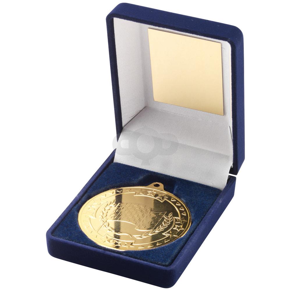 Blue Velvet Box and 50mm Medal Motor Sport Trophy